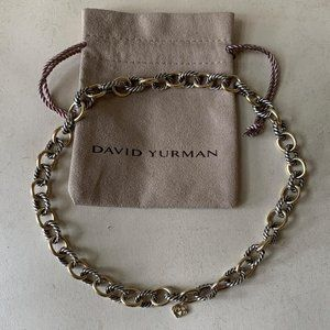DAVID YURMAN Silver & Gold Oval Link Necklace